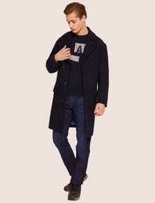 ARMANI EXCHANGE WOOL-BLEND TAB COLLAR PEA COAT Coat Man d