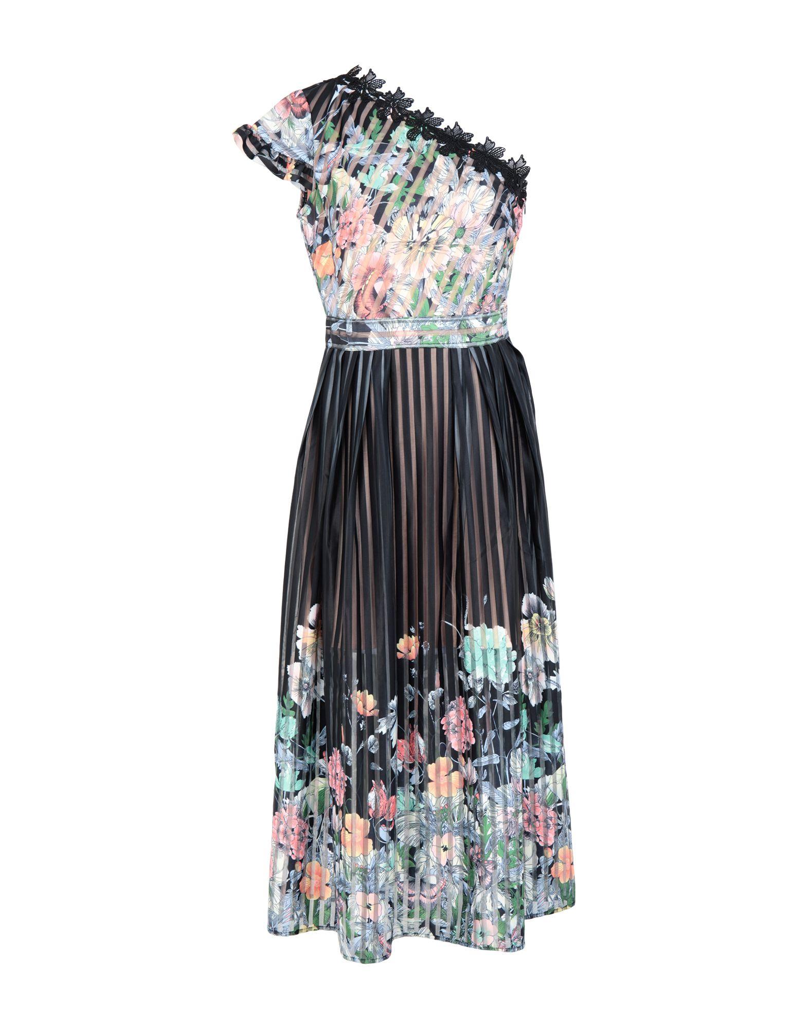 《セール開催中》FOXIEDOX レディース ロングワンピース&ドレス ブラック 8 ポリエステル 94% / ポリウレタン 6% FLORA PRT ONE SHOULDER DRESS