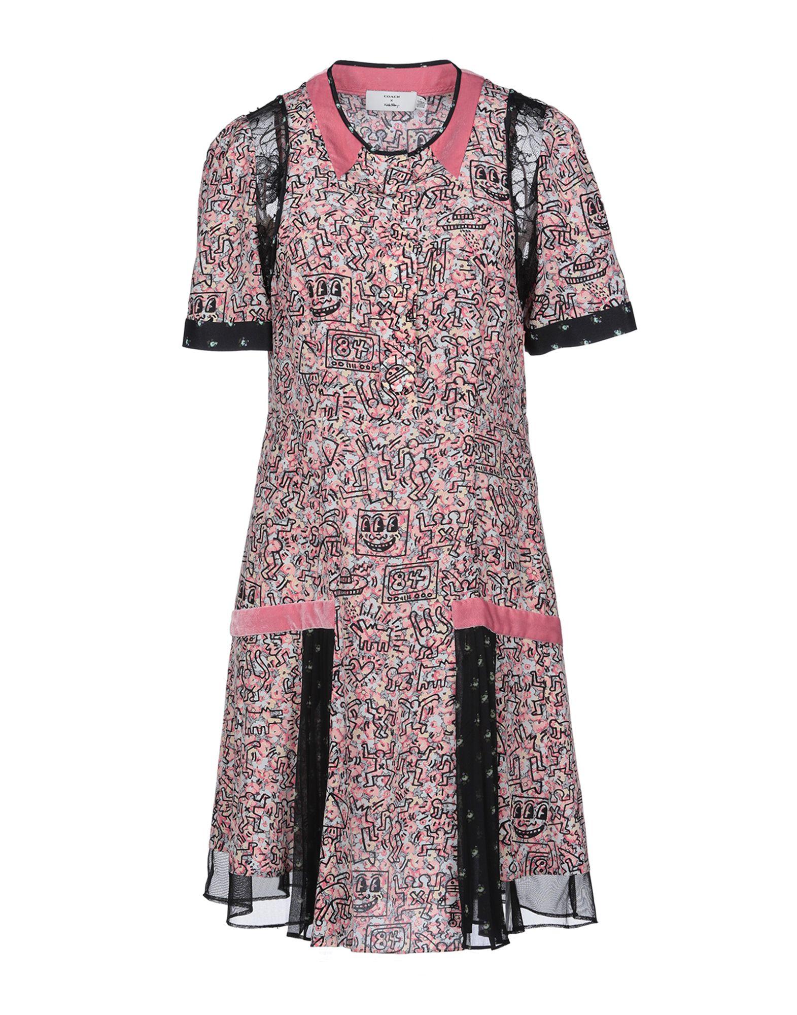 《送料無料》COACH レディース ミニワンピース&ドレス ピンク 2 シルク 100%