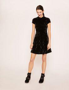 ARMANI EXCHANGE VELVET WAVE MOTIF MOCKNECK FIT-AND-FLARE Midi dress [*** pickupInStoreShipping_info ***] d