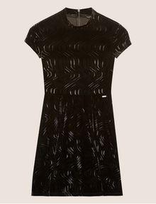 ARMANI EXCHANGE VELVET WAVE MOTIF MOCKNECK FIT-AND-FLARE Midi dress [*** pickupInStoreShipping_info ***] r