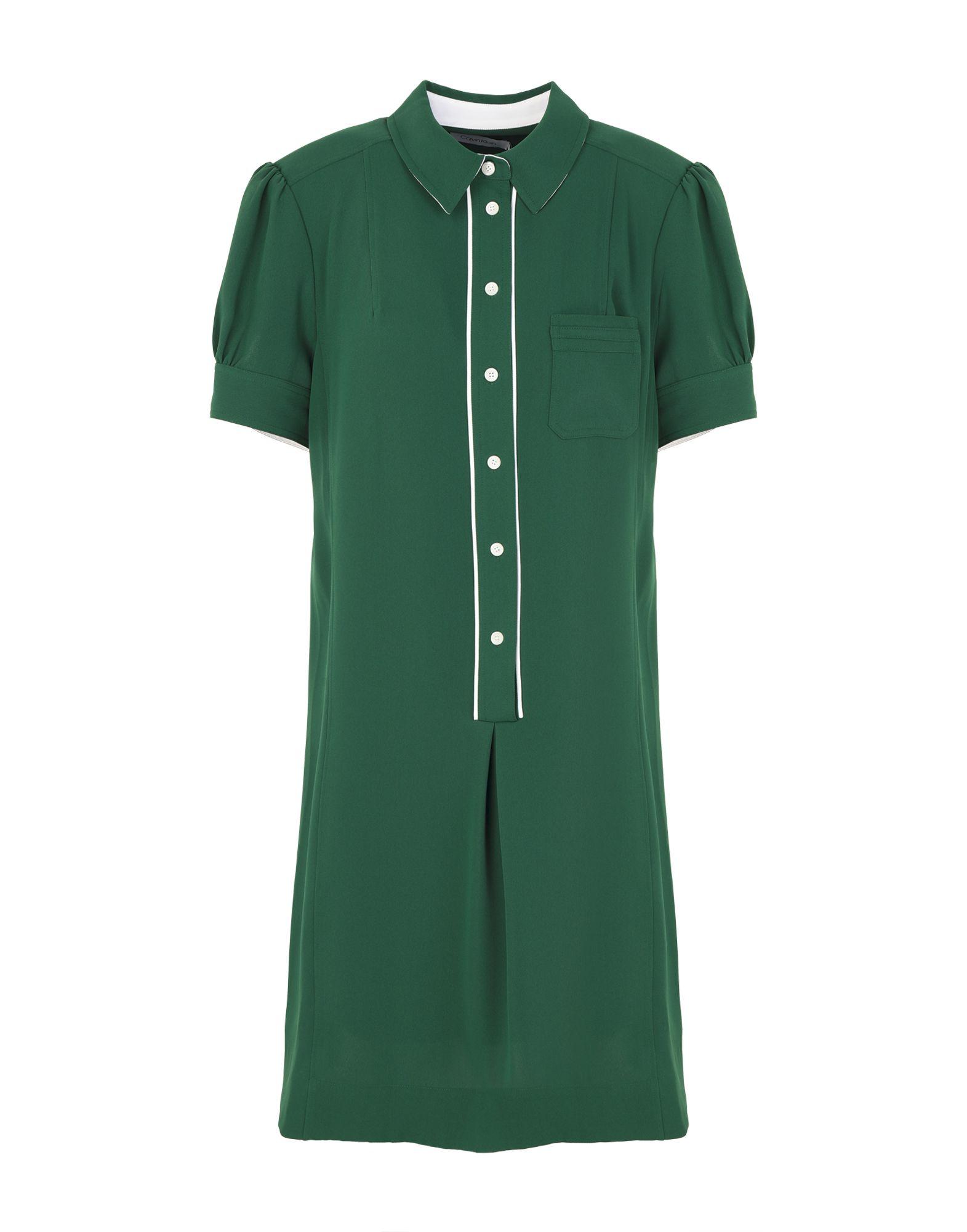 《送料無料》CALVIN KLEIN レディース ひざ丈ワンピース グリーン 36 ポリエステル 100% DETAIL SHIRT DRESS SS