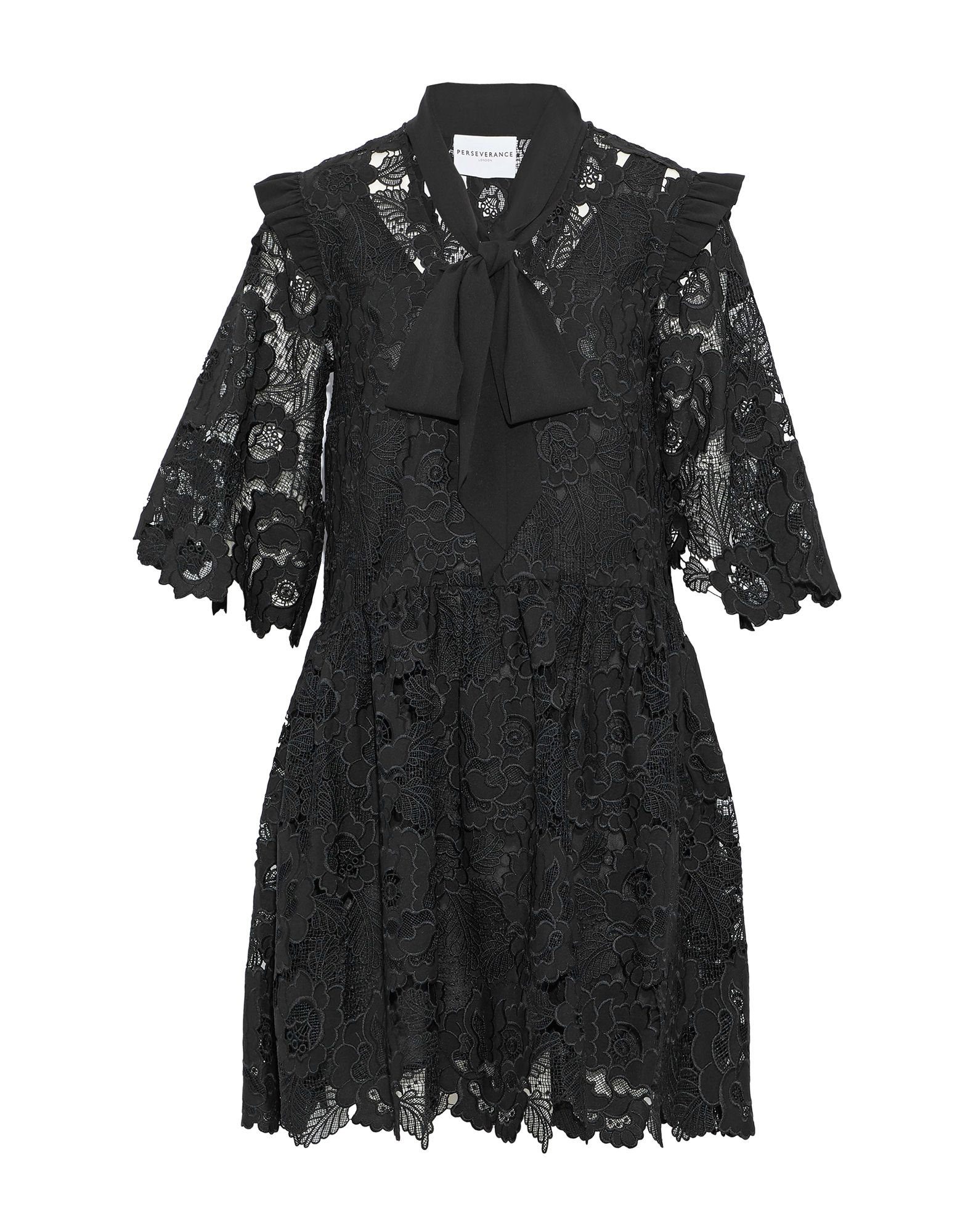 《送料無料》PERSEVERANCE レディース ミニワンピース&ドレス ブラック 6 ポリエステル 100%
