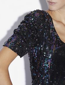 ARMANI EXCHANGE SEQUIN-STUDDED V-NECK DRESS Mini Dress [*** pickupInStoreShipping_info ***] b