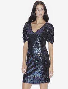 ARMANI EXCHANGE SEQUIN-STUDDED V-NECK DRESS Mini Dress [*** pickupInStoreShipping_info ***] f