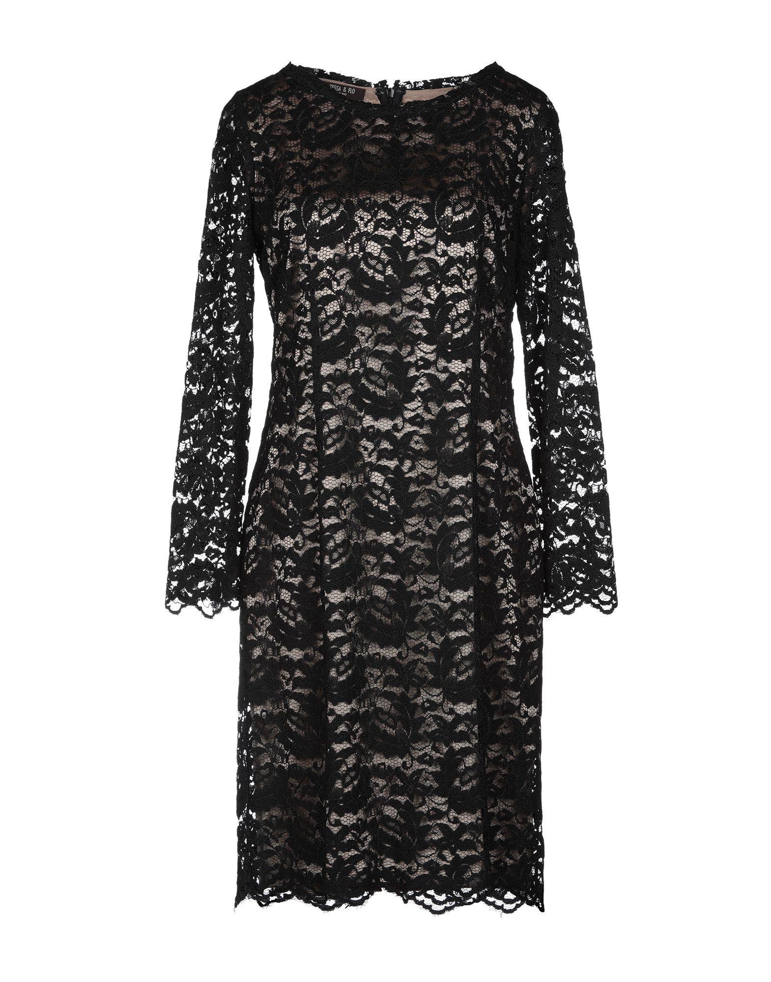 《期間限定セール中》TESSA & FLO レディース ミニワンピース&ドレス ブラック 42 シルク 94% / ポリウレタン 6%