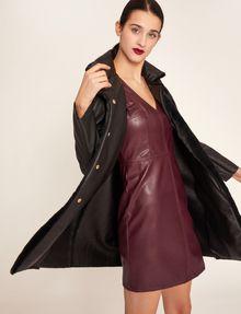 ARMANI EXCHANGE FAUX-LEATHER RUFFLED SHEATH DRESS Mini dress [*** pickupInStoreShipping_info ***] a