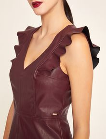 ARMANI EXCHANGE FAUX-LEATHER RUFFLED SHEATH DRESS Mini dress [*** pickupInStoreShipping_info ***] b