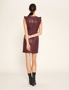 ARMANI EXCHANGE FAUX-LEATHER RUFFLED SHEATH DRESS Mini dress [*** pickupInStoreShipping_info ***] e