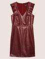 ARMANI EXCHANGE FAUX-LEATHER RUFFLED SHEATH DRESS Mini dress [*** pickupInStoreShipping_info ***] r