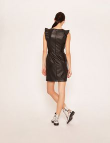 ARMANI EXCHANGE FAUX-LEATHER RUFFLED SHEATH DRESS Mini Dress Woman e