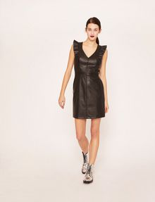 ARMANI EXCHANGE FAUX-LEATHER RUFFLED SHEATH DRESS Mini Dress Woman f