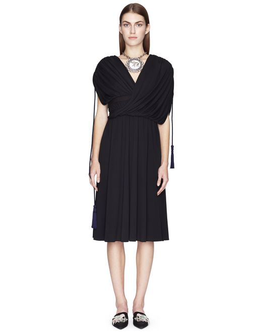 MID-LENGTH BLACK DRAPED DRESS - Lanvin