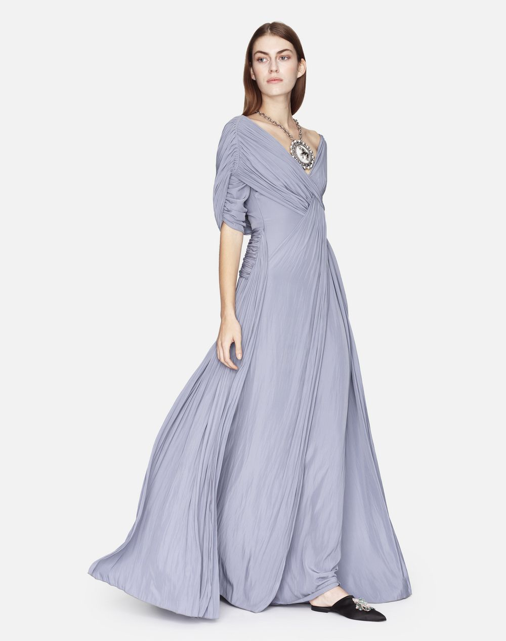 LONG SILK DRAPED DRESS - Lanvin