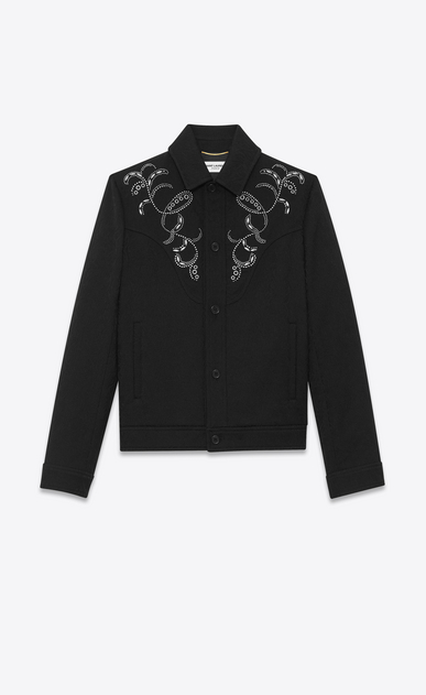Wool jacket with arabesque embroidery