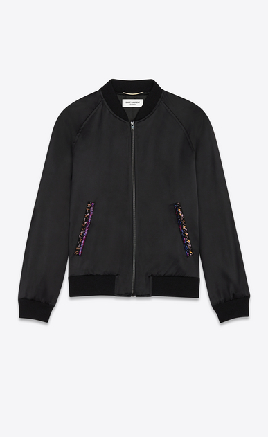 Satin varsity jacket with Saint Laurent embroidery