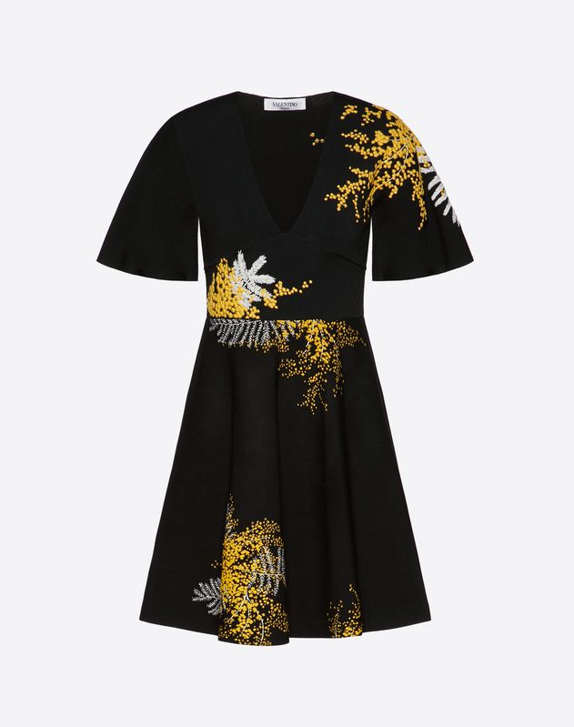 Embroidered Mimosa Stretch Viscose Dress