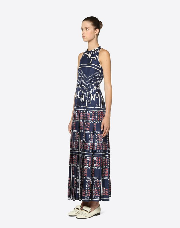 Valentino Chevron and Valentino Puzzle Twill Dress