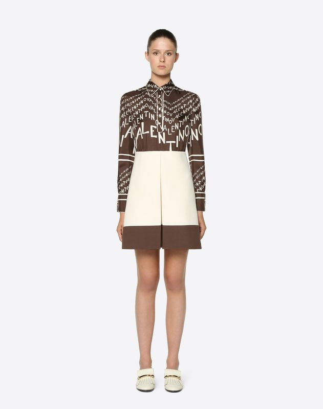 Valentino Chevron and Crêpe Couture Twill Dress