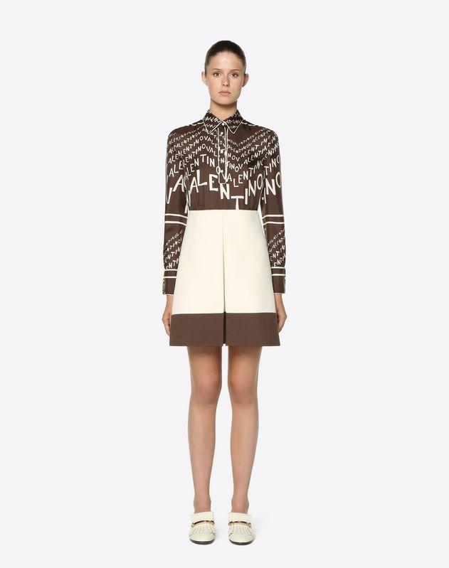 Kleid aus Twill Valentino Chevron und Crêpe Couture