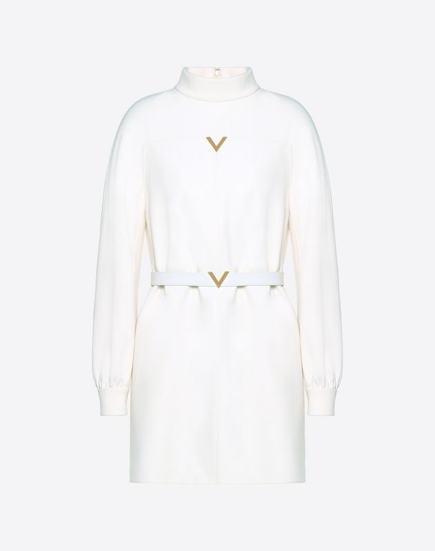 Double Crêpe Wool Dress with Gold V Belt