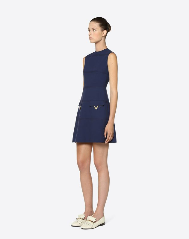 Double Crêpe Wool Dress with Gold V Details