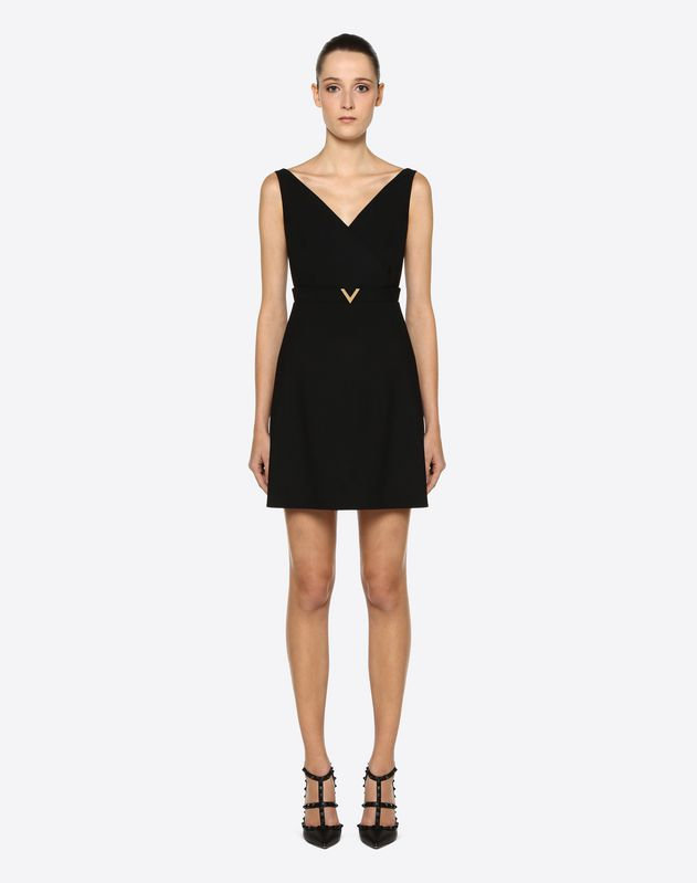 Double Comfort Crêpe Dress with Gold V Detail