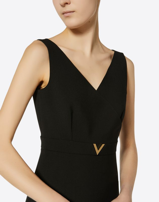 Double Comfort Crepe Dress with Gold V Detail
