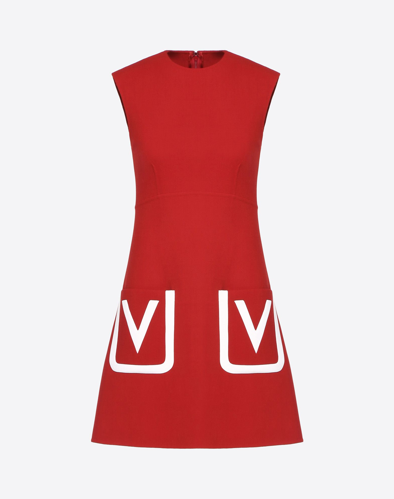 Double Crêpe Wool Dress with Inlay V Logo
