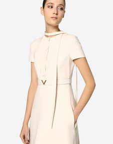 Crêpe Couture Dress with Gold V Belt