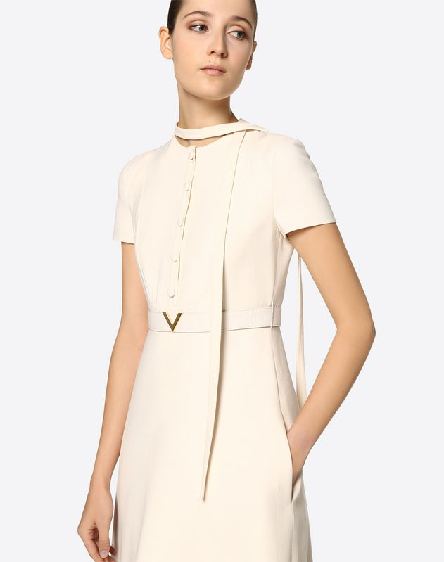 Crêpe Couture Dress with Gold V Belt