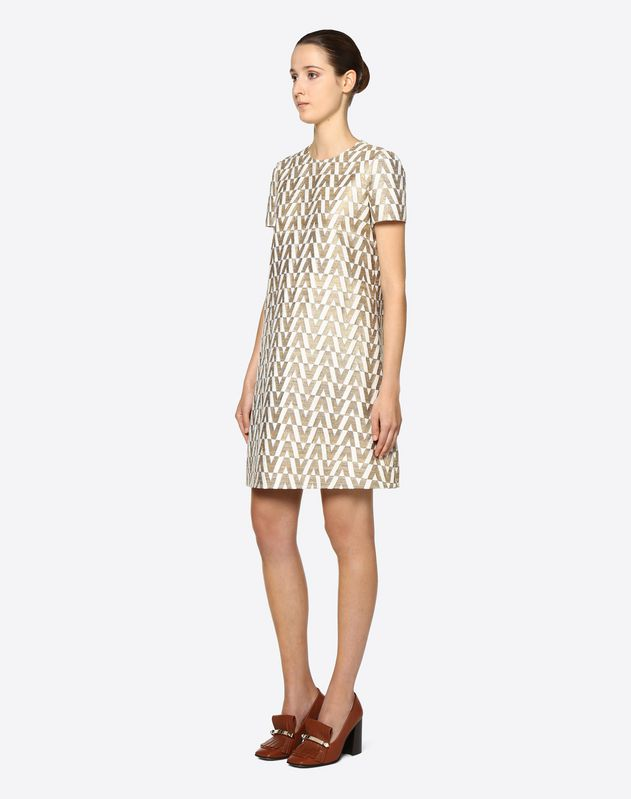 Tussah Logo Brocade Dress