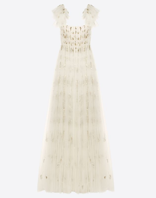 Embroidered Tulle Evening Dress