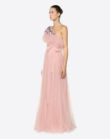 Tulle Evening Dress With Butterfly Embroidery