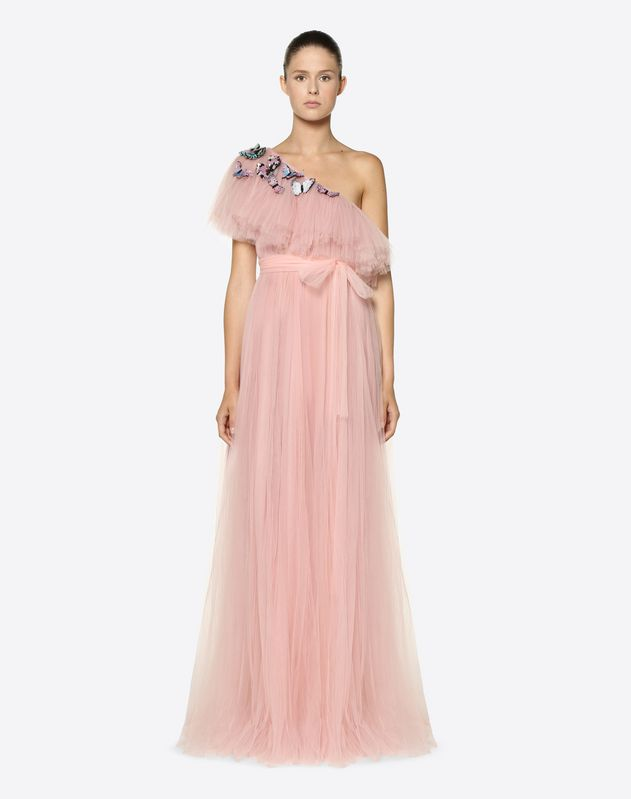 a7cd4cd544 Tulle Evening Dress With Butterfly Embroidery for Woman | Valentino ...