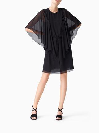 Robe en georgette texturée à volants