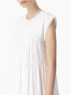 Robe en voile de coton à pois tissés