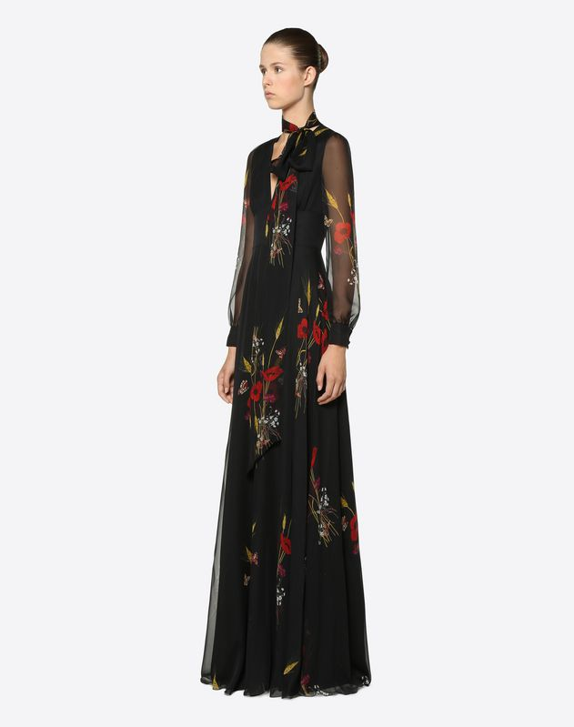 Flowery Meadow Chiffon Evening Dress