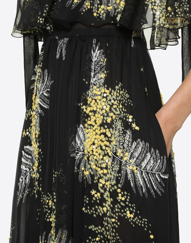 Embroidered Mimosa Evening Dress