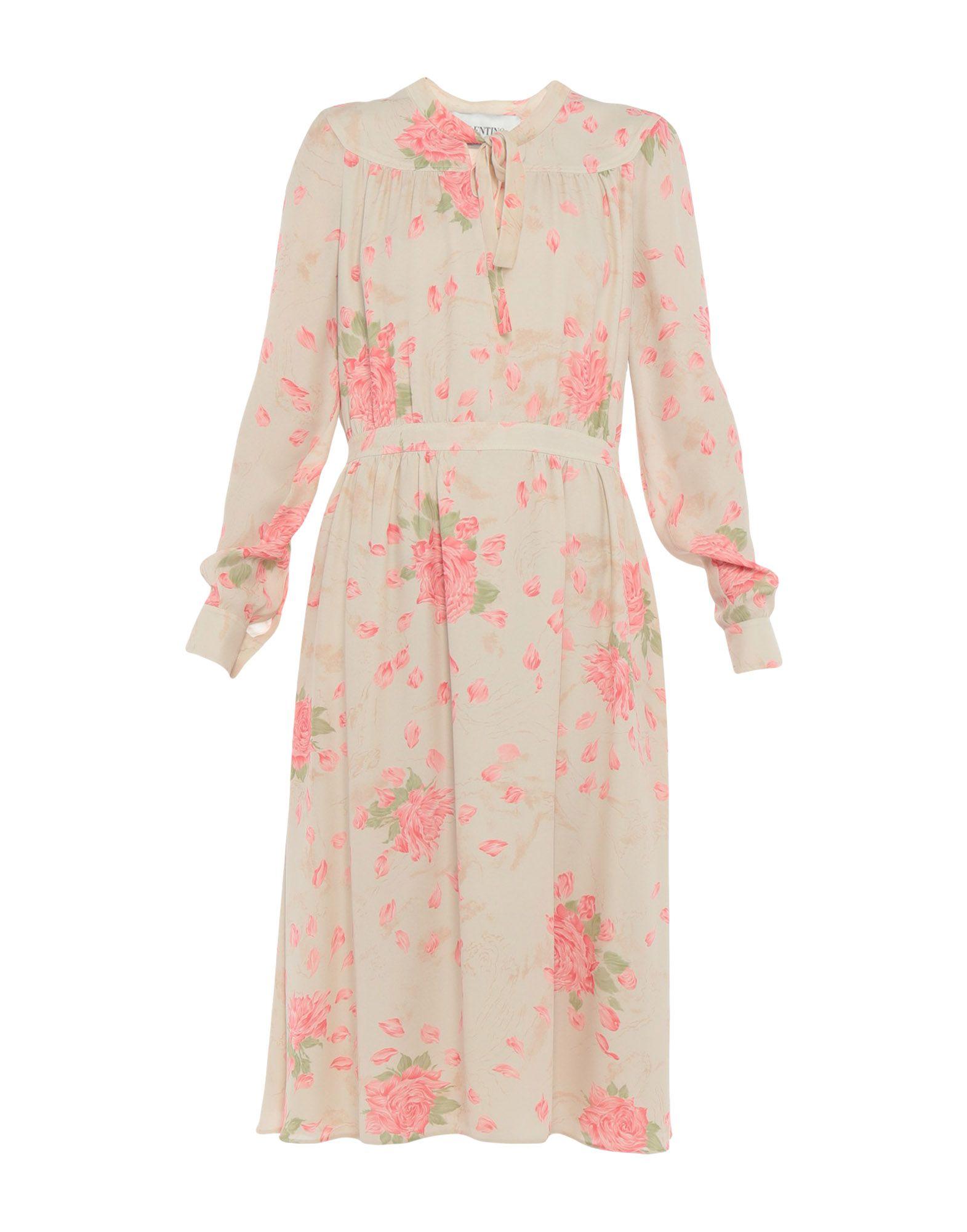 《送料無料》VALENTINO レディース 7分丈ワンピース・ドレス ベージュ 42 シルク 100%