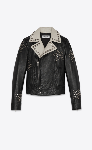 Leather biker jacket embroidered with stud stars