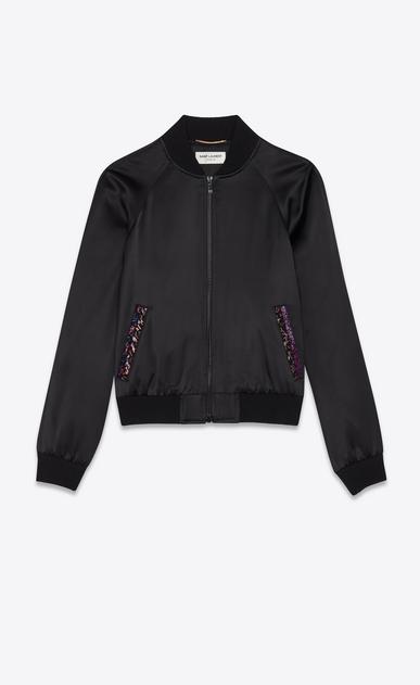 Satin varsity jacket with Saint Laurent embroidery