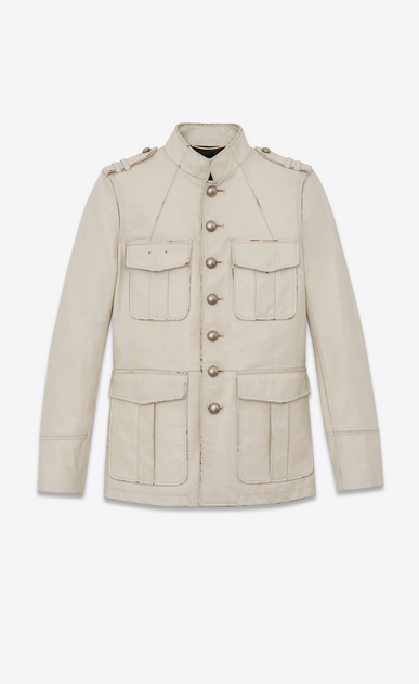 Safari jacket in vintage crinkled leather with officer buttons