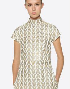Tussah Logo Brocade Dress with Gold V Belt