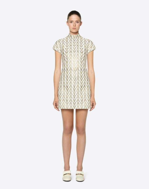 Tussah Logo Brocade Dress with Gold V Belt