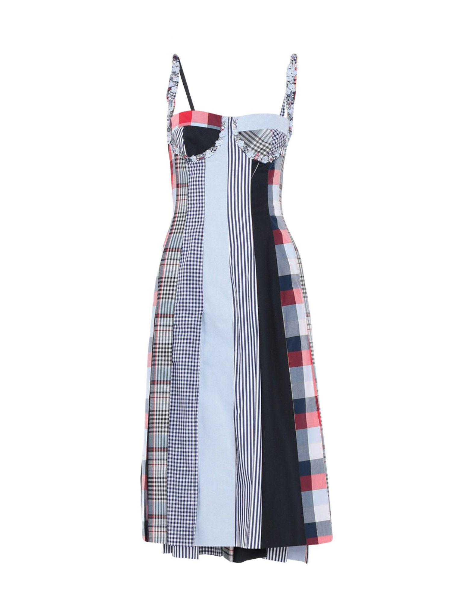 THOM BROWNE 3/4 length dresses. plain weave, folds, deep neckline, sleeveless, patchwork, no pockets, rear closure, zip, fully lined, dress. 100% Wool, Cotton, Silk