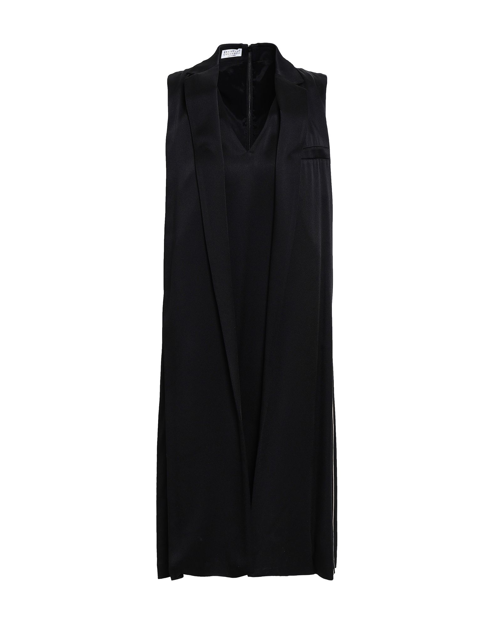 BRUNELLO CUCINELLI Knee-length dresses. satin, no appliqués, v-neck, sleeveless, solid color, multipockets, rear closure, zip, fully lined, trapeze style. 54% Viscose, 46% Acetate