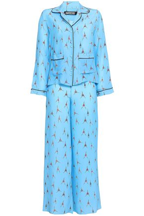 ROCKINS Printed silk crepe de chine pajama set