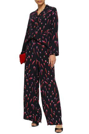 ROCKINS Printed silk crepe de chine pajama set