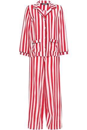 ROCKINS Striped silk crepe de chine pajama set